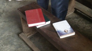 "A copy of ""Living the Cross Centered Life"" in a church I was in last Fall."