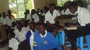Students in a North Ugandan Secondary School listening to a gospel proclamation.