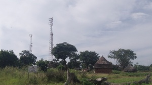 "The ""new"" and the ""old"" all at once :-). Those towers are the reason why I can post these pictures in the bush of Africa."