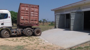 We had to jack knife the trailer to unload as the container was loaded backwards in Kampala