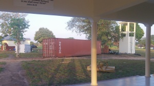 The container is grounded! PTL! We need now to drag it to its ready made pad.