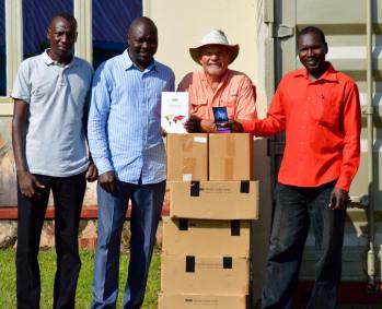 Four cases of ESV Global Study Bibles and 8600 gospel tracts headed to the Juba Mountain area.