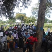 South Sudenes Church leaders receiving Bibles and training in nearby refugee camp