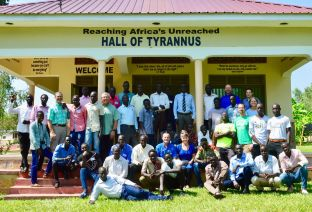 A group photo outside the Hall of Tyrannus.